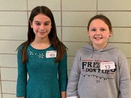BCIS spelling bee winner Lily Blackburn and Runner up Layla Crawford