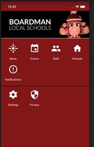 Boardman Local Schools New App with Sparty and icons