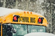 SCHOOL BUS IN SNOW GRAPHIC