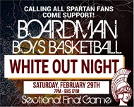 "Boardman Boys Basketball ""WHITE OUT NIGHT"" Sat. February 9 at 7 pm at BHS Gym"