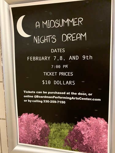 MIDSUMMER NIGHT'S DREAM FLYER WITH FEB. 7, 8 & 9 AT THE BPAC