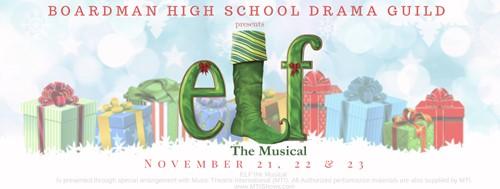 elf graphic with musical dates nov. 21,22,23