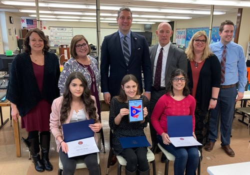 Congressman Ryan with app winners and Principal Fernback, Evelyn Stanton, Superintendent Saxton, Anne Bott and Kyle Sheehan