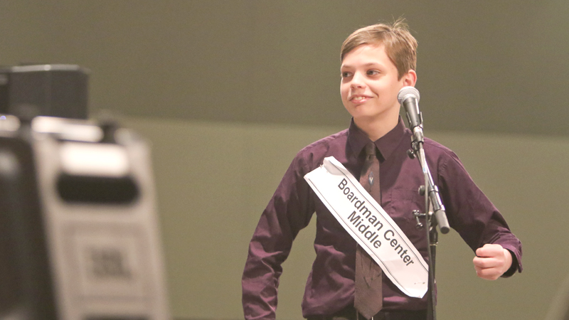 Courtesy of Youngstown Vindicator, Santino Slipkovich smiles after winning BEE