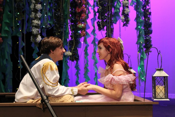 Prince Eric, Wil Arnim and Ariel, Cora Ams,  floating at sea.