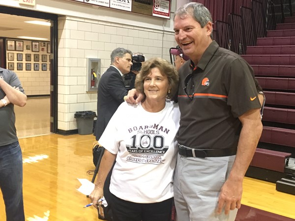 Bernie Kosar and Athletic Director Denise Gorski before pep rally