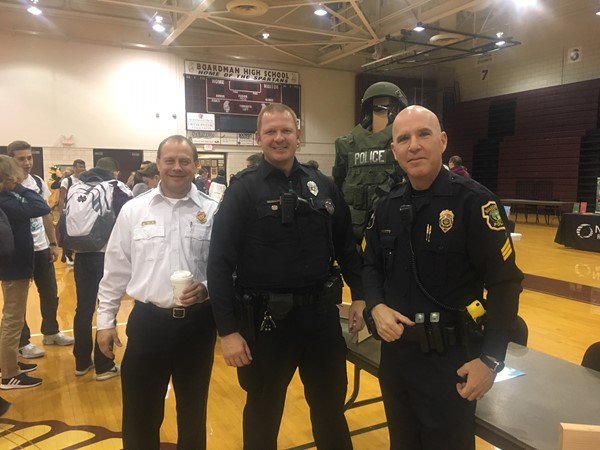 Fire Chief Mark Pitzer, School Resource Officer Paul Poulos , and SRO Supervisor Sgt. Mike Sweeney
