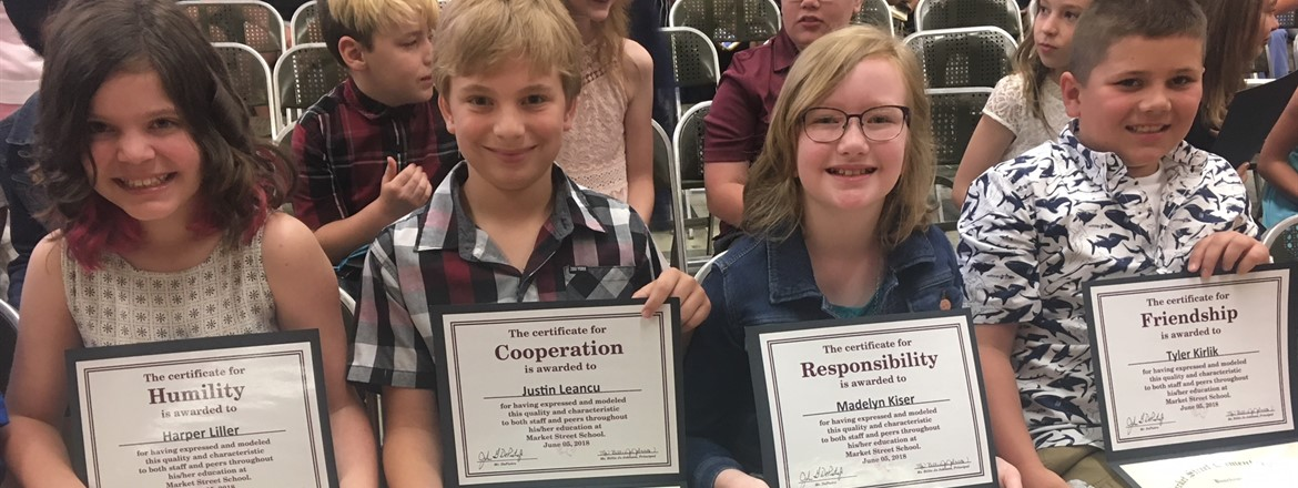 Students recognized for good character, like cooperation and responsibility
