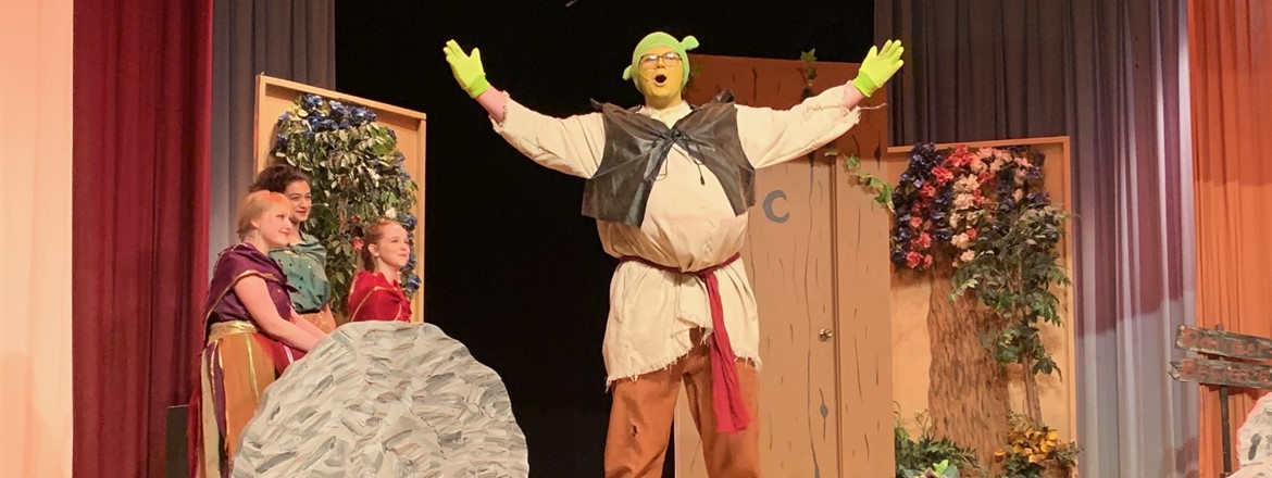 Shrek singing on stage