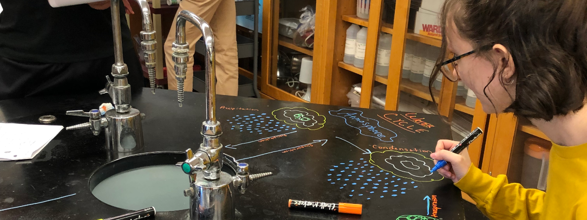 Using chalk markers to write out lab equations and cell makeup