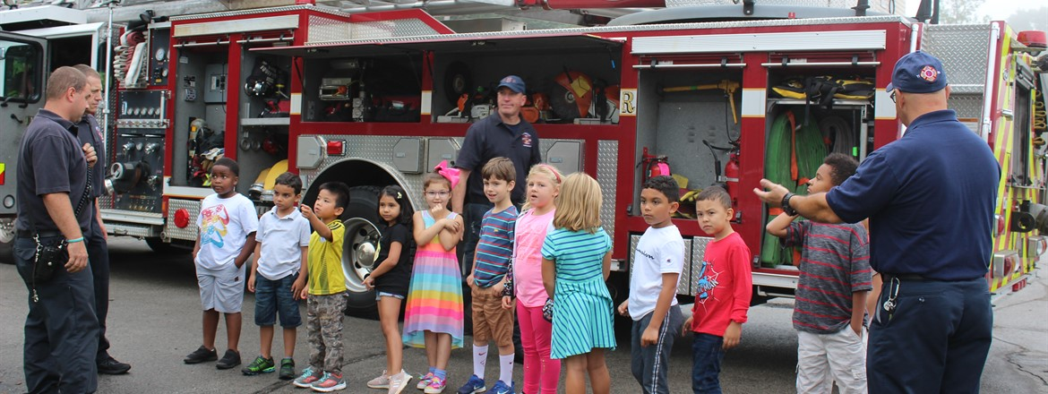 First graders learn all about the fire truck from Boardman Firefighters
