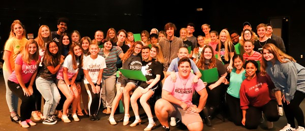 cast and crew of elf musical on bpac stage