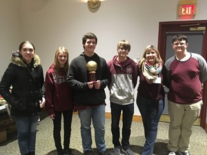 """B"" team that placed 3rd in Penguin Bowl holding trophy"