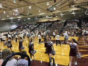 Pep rally in the gymnasium