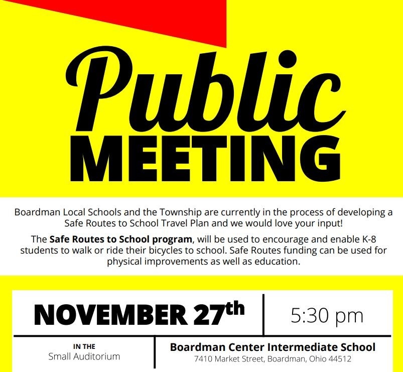 Safe Routes to School public meeting November 27 at BCIS 5:30 PM
