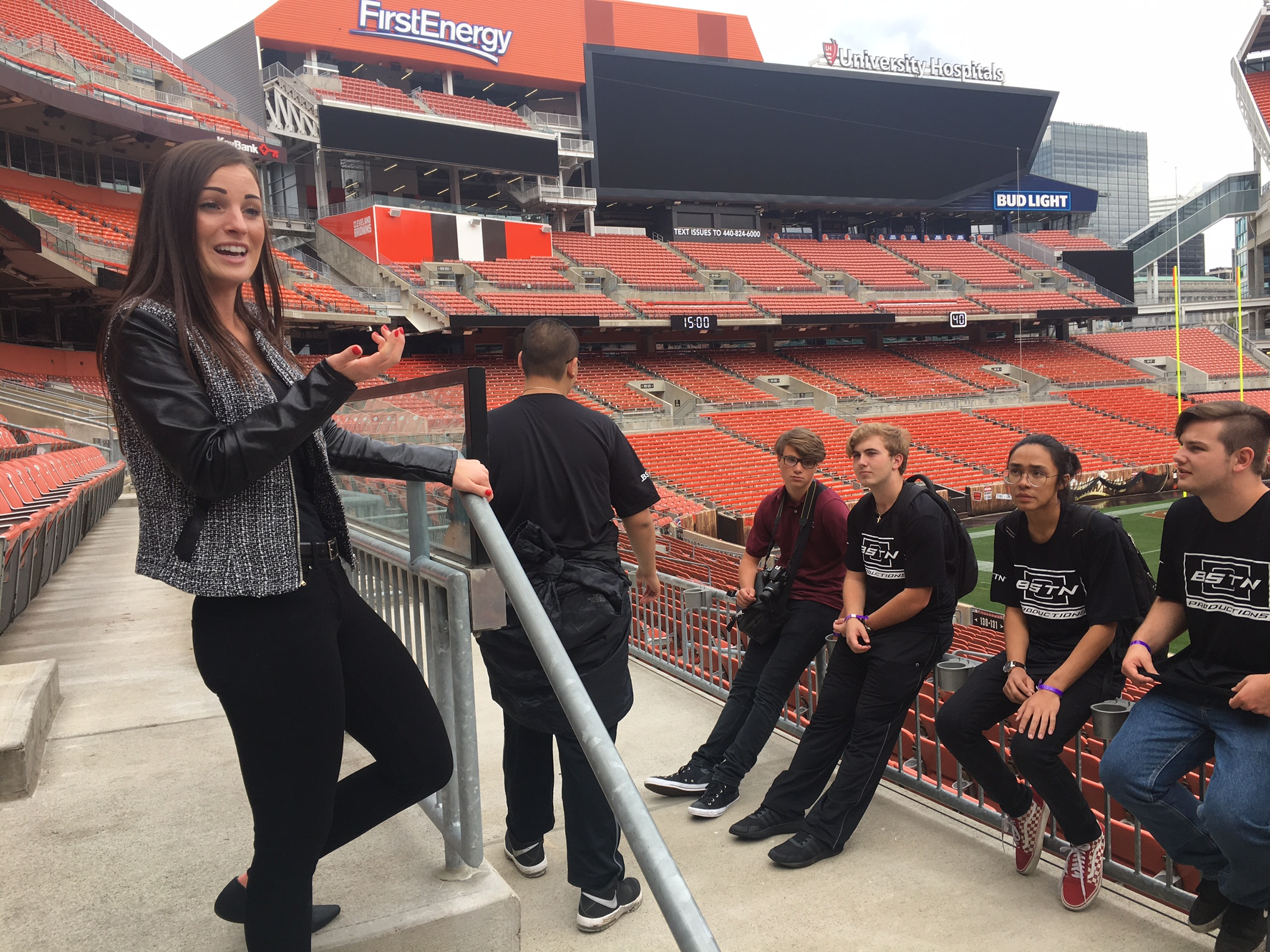 Briana Harris conducting tour of Browns Stadium