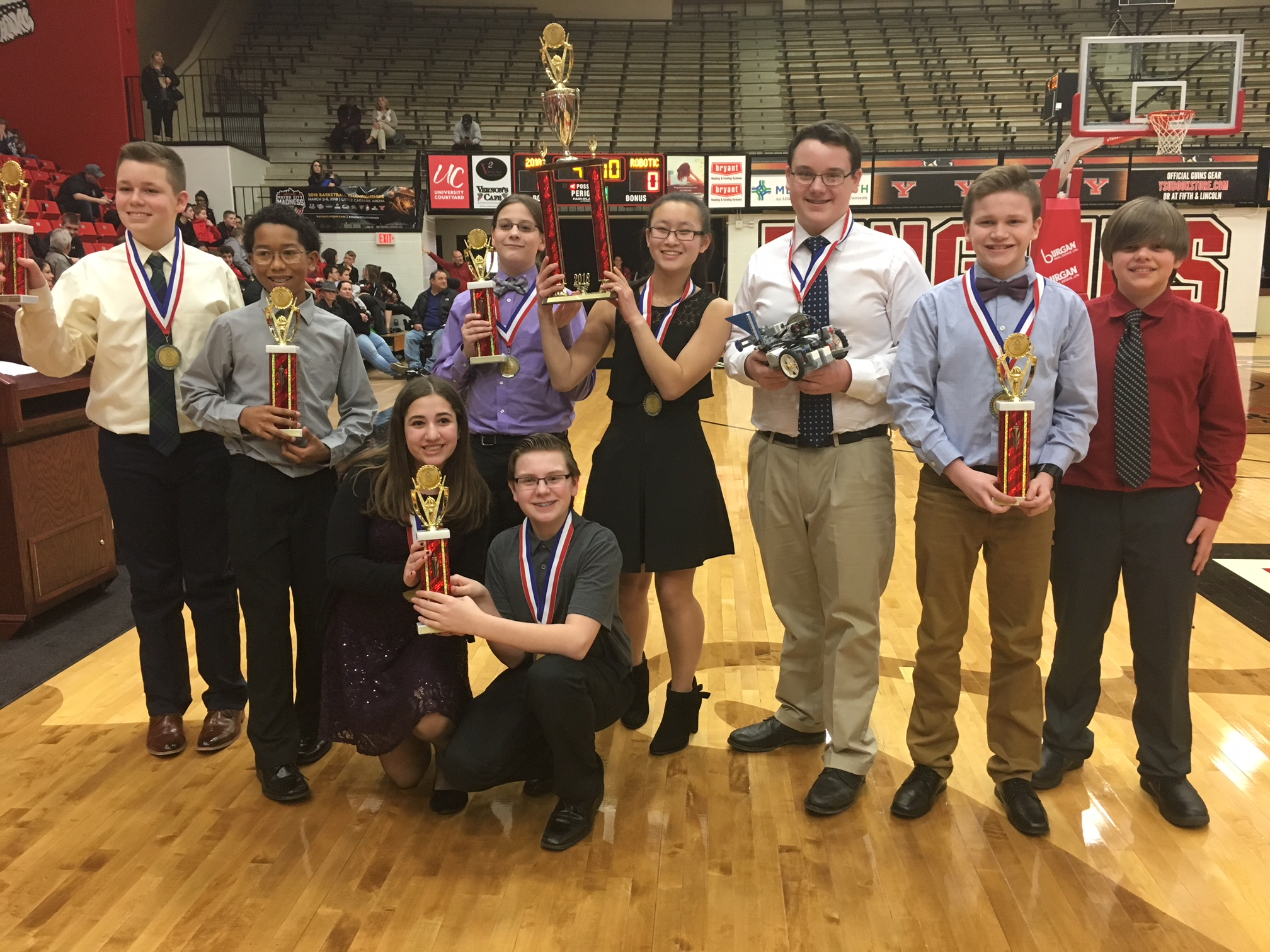 Glenwood Boardman Team holding trophies, they took 1st place overall