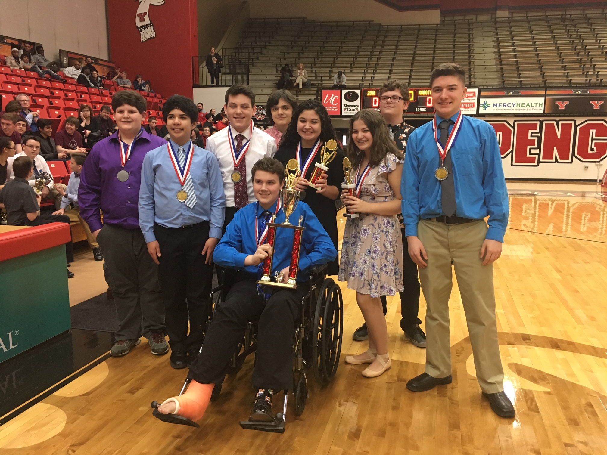 Glenwood Spartan Team holding trophies- they took 2nd place overall